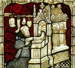 A medieval pilgrim makes a votive offering at a shrine. (image: The Dean and Chapter of York)