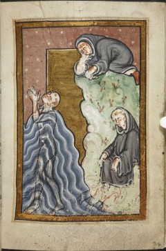 St Cuthbert's feet are dried by otters, BL Yates Thompson MS 26 fo. 24r (click to enlarge)