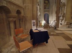 Tiina's table where she carried out fieldwork in Canterbury Cathedral