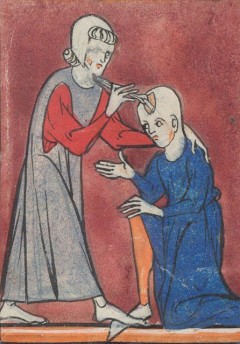 A depiction of medieval brain surgery (early 14th C, BL Sloane 1997 fo. 2r.) (click to enlarge)